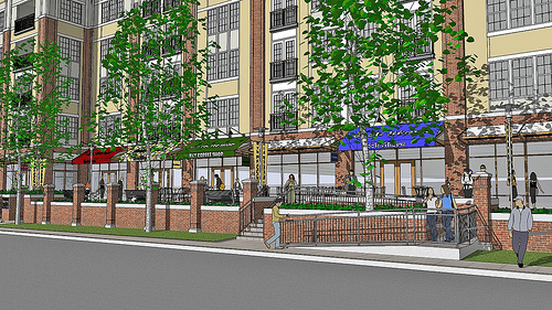 Street Level Rendering of The Promenade at Wyomissing Square