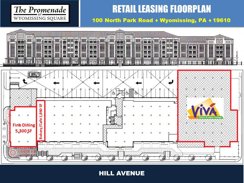 The Promenade at Wyomissing Square Retail Leasing Floorplan in Wyomissing, PA